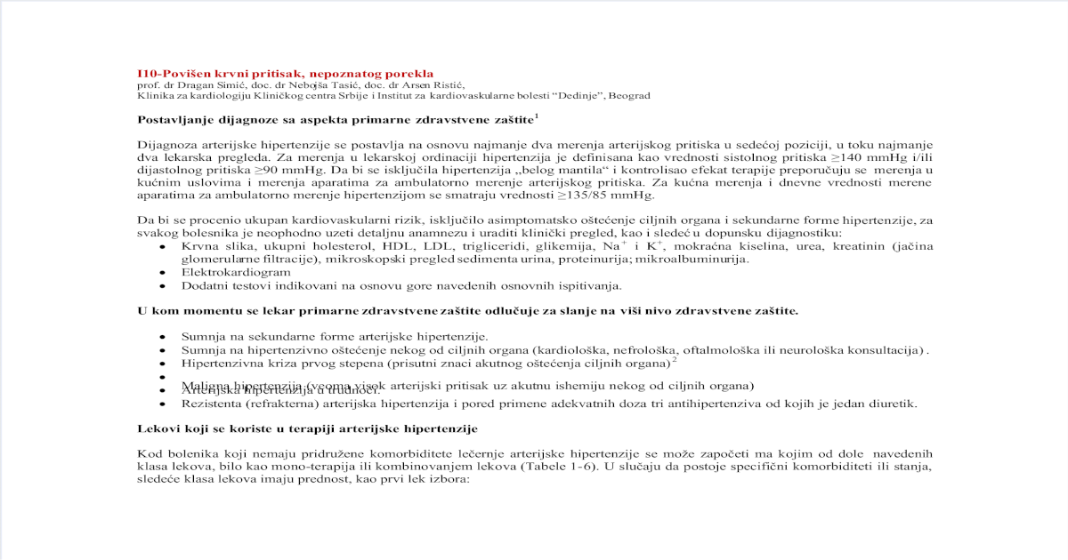 formulacija hipertenzija dijagnoza hipertenzija kakvu bolest