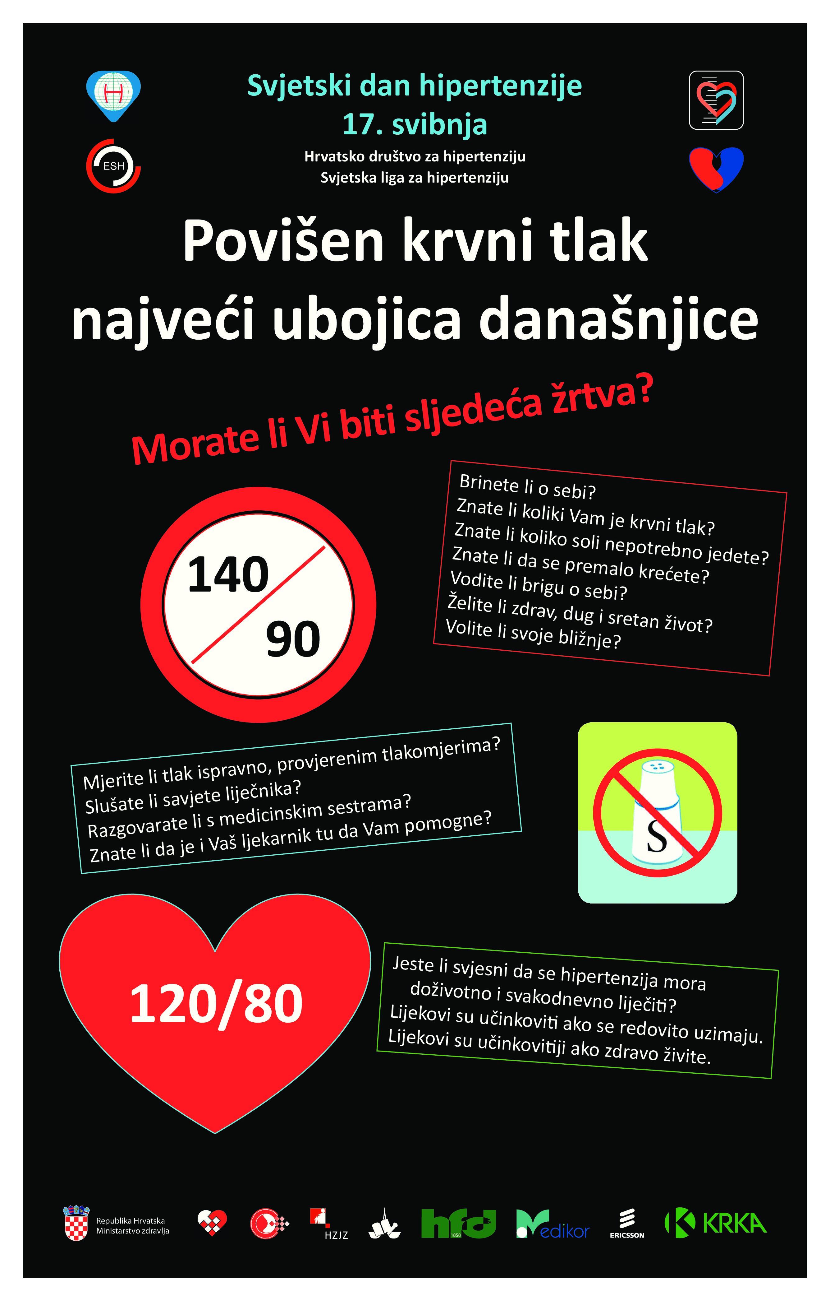Plakat Svjetski dan hipertenzije HDH | Hrvatski zavod za javno zdravstvo